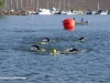 Swimmers round the buoy at the Cherry Creek Reservoir