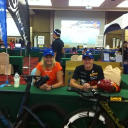 Griesbauer and Evoe promoting Blue Bicycles