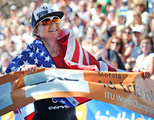 Mary Beth Ellis won her first ITU world title on Saturday. (Janos M. Schmidt/ITU)