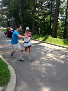 Mary Beth Ellis gets her special needs bag on the run (photo by J.  Martinet)