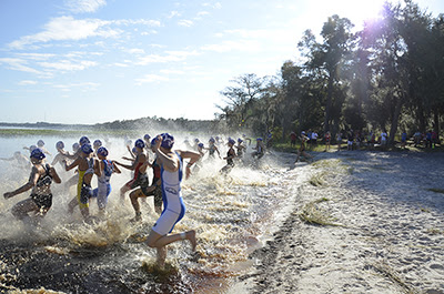 An at-capacity field competes in the second Women's Collegiate Triathlon National Championship in Clermont. (Karen Hunt/Florida Swim Network)