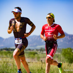 Boulder, CO -- June 11, 2016: Joe Gambles (left) battles with Sam Appleton (right) on the first lap of the run at the Ironman 70.3 Boulder. Gambles went on to win in 3:41:37 while Appleton took third in 3:44:00.