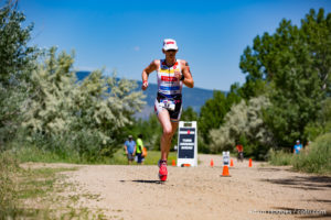 Boulder resident and South African Jeanni Seymour runs a 1:27:20 half-marathon split to finish second overall, 4:12:00, at the Ironman 70.3 Boulder.