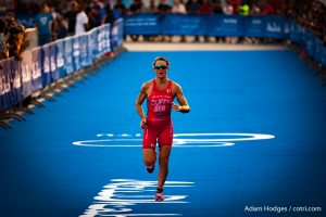 ABU DHABI, UAE (MARCH 5, 2016) -- Flora Duffy of Bermuda runs to a fourth place finish at the season opening race of the 2016 ITU World Triathlon Series in Abu Dhabi.