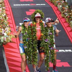The women's podium at the 2016 Ironman World Championships: Mirinda Carfrae, Daniela Ryf and Heather Jackson (photo by Kristen McFarland)