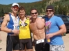 he top relay team -- from right to left, Joey, Christopher and James -- celebrates their win