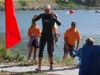 Dave Messenheimer of Boulder is the first to exit the water
