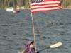 A kayaker keeps watch