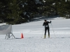 A skate skier finds the finish line