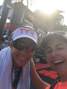 Mirinda Carfrae and her Coach Siri Lindley pose for a  post-race selfie