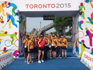 Paula visiting with the Pan Am Games volunteers