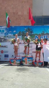 Seymour in second and Stott in third at Ironman 70.3 Cozumel (photo by Lovato Performance)