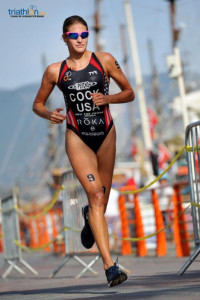 Summer Cook landed on the podium for the first time in an ITU World Cup on Saturday. (Janos M Schmidt/ITU)