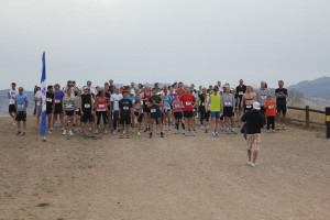 Runners toe the starting line