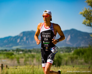Boulder pro and University of Colorado student Rudy Von Berg runs a 1:20:00 half-marathon split to finish fourth overall, 3:45:15, at the Ironman 70.3 Boulder.