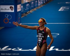 Renée Tomlin after her fifth place finish at the season opening race of the 2016 ITU World Triathlon Series in Abu Dhabi (photo by Adam Hodges)