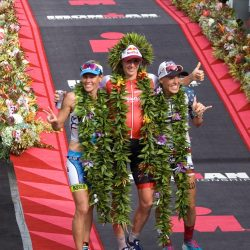 The women's podium at the 2016 Ironman World Championships: Mirinda Carfrae, Daniela Ryf and Heather Jackson (photo by Kristen McFarland)