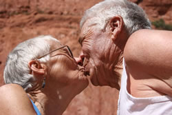 Kay Martin and Lyle Langlois under Kissing Camels Rock in Garden of the Gods
