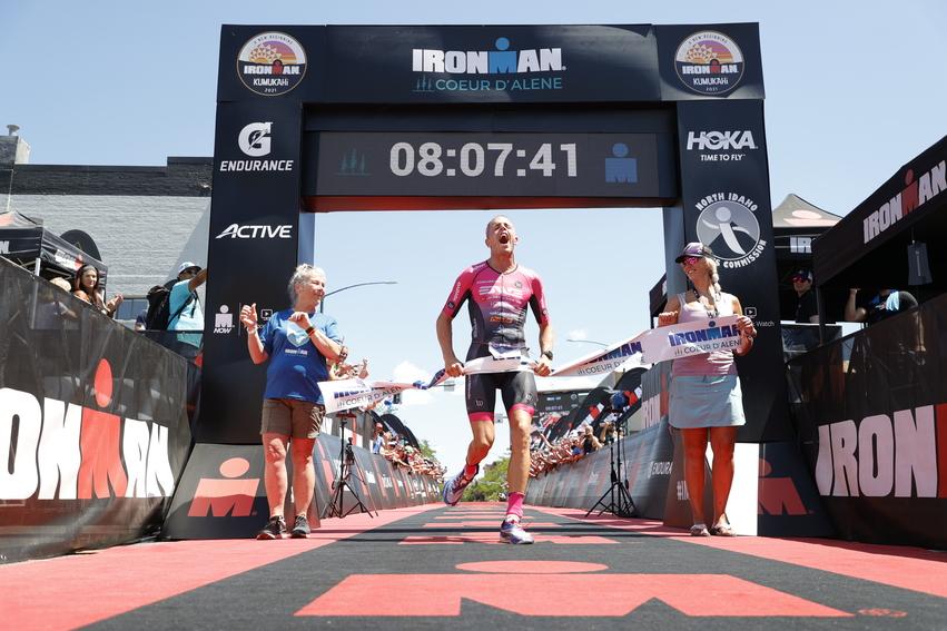Sam Long crosses the finish line